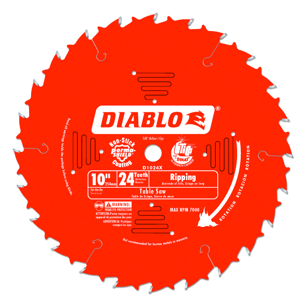 Freud D1024x 10 24t Diablo Ripping Blade For Table Saws 5 8 Arbor