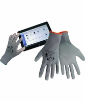 Global Glove PUG13-TS-S Gray Polyurethane Touch Screen Compatible Gloves (Small)