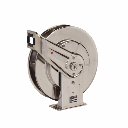 Reelcraft 7600-OMS-S55 3/8 x 66' Spring Retractable Stainless Hose Reel, 3000 PSI No Hose