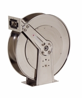 """Reelcraft 81000-OMS-S 3/8"""" x 100' Dual Pedestal Stainless Hose Reel, 1500 PSI No Hose"""