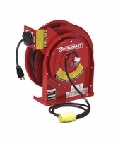 Reelcraft L-4050-163-3-RP HD 16 AWG, 13 AMP Reverse Plug Power Cord Reel w/ 50 ft. Cord