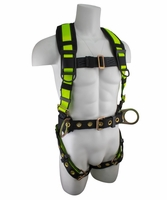 SafeWaze FS170 Construction Harness with Fixed Back Pad, Grommet Leg Straps & Side Positiong D-Rings: S, M, L, XL, XXL  420 lb. Rating