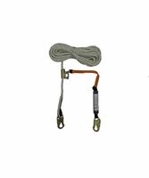 "SafeWaze FS700-50GA-3E 5/8"" Lifeline 50' with 3' Energy Absorbing Lanyard attached to FS1117 Fall Arrester"