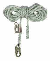"SafeWaze FS700-50GA 5/8"" Polyester-dacron, 3-Strand Twisted Rope Lifeline / 50' with FS1117 Fall Arrester Attached"