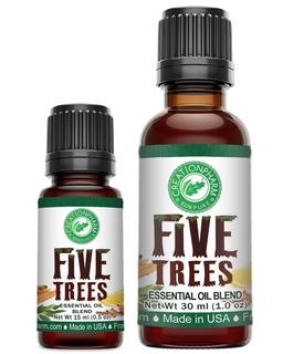 Five Trees Blend - Cinnamon, Clove, Frankincense, Lemon, Rosemary, Eucalyptus