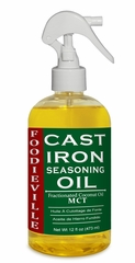 Foodieville Cast Iron Oil Seasoning for Conditioning and Ultimate Non-stick Season of Cast Iron Skillets, Pots, Pans, with Oils of Flaxseed, Sesame, MCT, Larger 12 oz Size with Spray Applicator