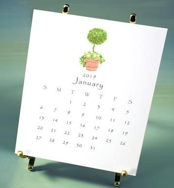 2019 calendar-garden - packaged in box with ribbon and charm and with brass easel