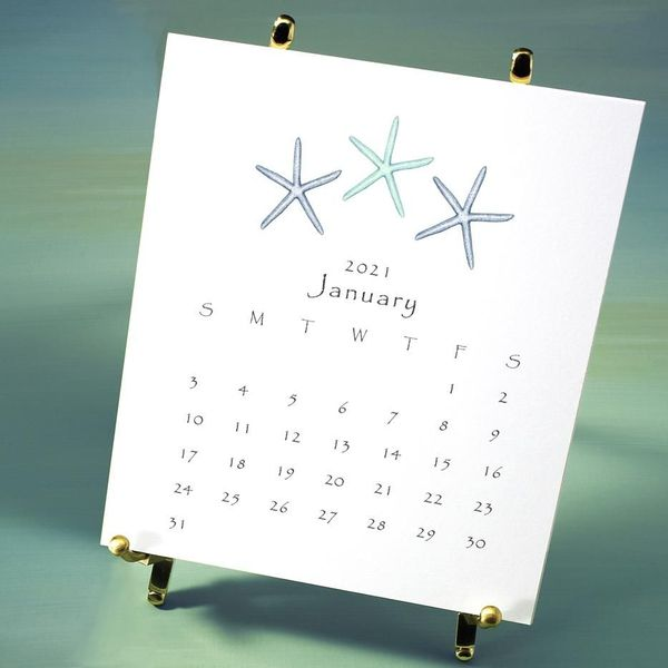 2021 calendar- seaside - packaged in box with brass easel