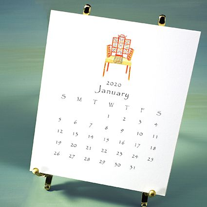 favorites desktop calendar with brass easel, packaged in box with ribbon and charm