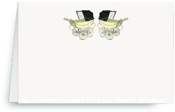 Place Cards - Vintage Twin Blue Baby Carriages