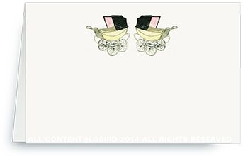 Place Cards - Vintage Twin Pink Baby Carriages