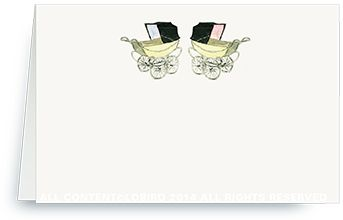 Place Cards - Vintage Twin Pink/Blue Baby Carriages
