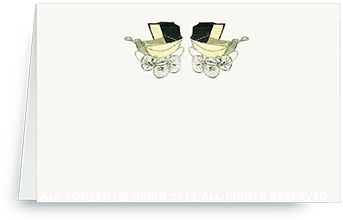 Place Cards - Vintage Twin Yellow Baby Carriages