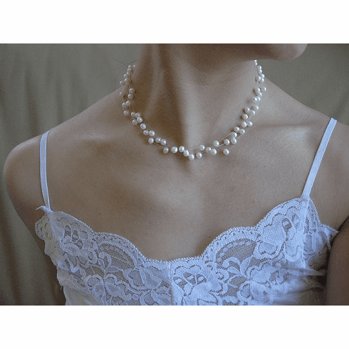 3 strand fresh water pearl illusion necklace in natural ivory white