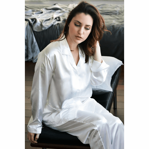 Women's Luxurious 100 % Charmeuse 2 pcs silk pajama set