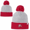 Denison Champion 2-Color Beanie with Pom Oxford Grey/ University Red