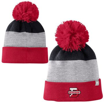 Denison Champion 3-Color Striped Beanie with Pom Oxford Grey/ University Red/ Black