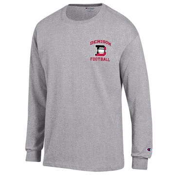 Denison Champion New Football Long Sleeve Tee Oxford Grey
