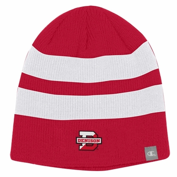 Denison Champion Unisex Beanie w/ Stripes Scarlet