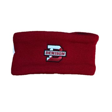 Denison Deep Freeze Knit Earband with Fleece Lining Red