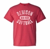 Denison MV Retro Heathered Tee Softball Red