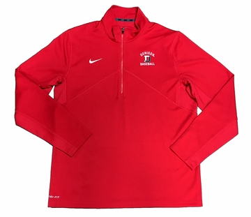Denison Nike Training 1/2 Zip Baseball Red