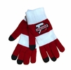 Denison Trixie Magic Gloves Striped White/ Red with Charcoal Texting Tips