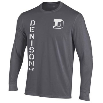 Denison Under Armour Performance Cotton Long Sleeve Tee Carbon Heather