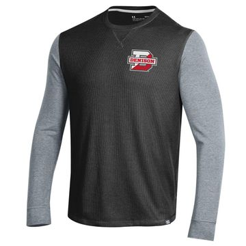 Denison Under Armour SMU Long Sleeve Waffle Crew Black Novelty