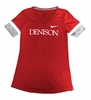 Denison Womens Nike Short Sleeve Fan V Neck University Red