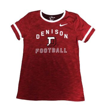 Denison Womens Nike Slub Fan Ringer Knit Football Shirt University Red