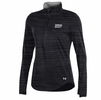 Denison Womens Under Armour 60/40 Charged Cotton 1/2 Zip Black/ Pattern Stripe