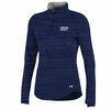 Denison Womens Under Armour 60/40 Charged Cotton 1/2 Zip Navy/ Pattern Stripe