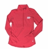 Denison Womens Under Armour 60/40 Charged Cotton 1/2 Zip Red/ Pattern Stripe
