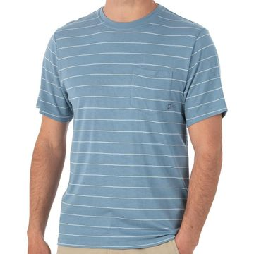 Free Fly Mens Bamboo Channel Pocket Tee Atlantic Blue/ White (Close Out)