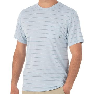 Free Fly Mens Bamboo Channel Pocket Tee Blue Mist/ Atlantic Blue