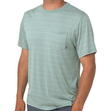 Free Fly Mens Bamboo Channel Pocket Tee Keys Green/ Aspen Grey (Close Out)