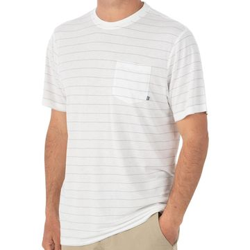 Free Fly Mens Bamboo Channel Pocket Tee White/ Aspen Grey