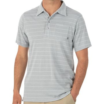 Free Fly Mens Bamboo Dockside Polo Aspen Grey/ White (Close Out)