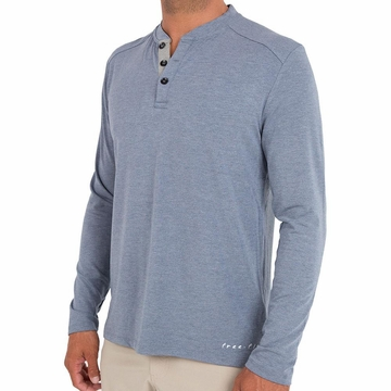 Free Fly Mens Bamboo Flex Henley Heather Denim (Close Out)