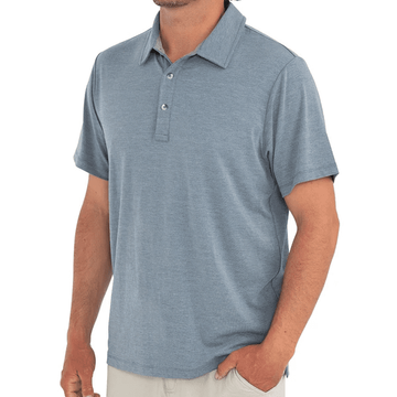 Free Fly Mens Bamboo Flex Polo Heather Blue Dusk