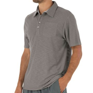 Free Fly Mens Bamboo Slub Polo Steel Grey (Close Out)