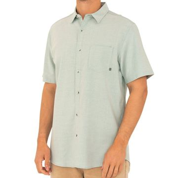 Free Fly Mens Sullivans Short Sleeve Button Up Chambray Keys Green