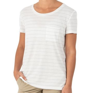 Free Fly Womens Bamboo Channel Pocket Tee White/ Aspen Grey (Close Out)