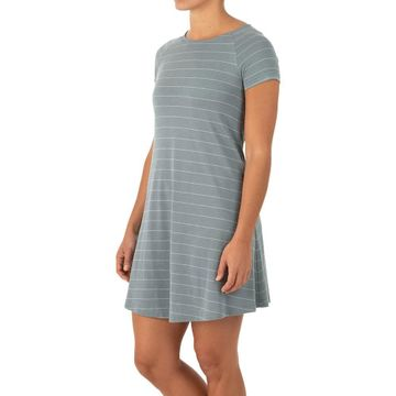 Free Fly Womens Bamboo Dockside Dress Blue Steel/ Aspen Grey (Close Out)
