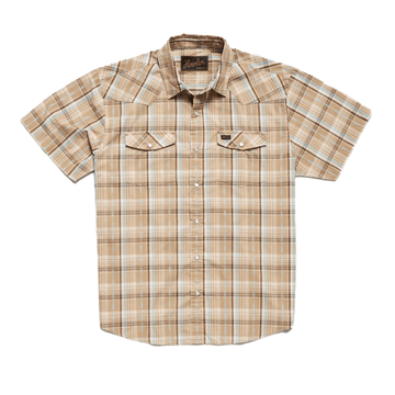 Howler Bros Mens H Bar B Snapshirt Brooks Plaid: Fawn Tan (Close Out)