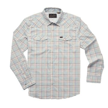 Howler Bros Mens H Bar B Tech Longsleeve Bolan Plaid: Lazy Blue