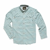 Howler Bros Mens Matagorda Shirt Peninsula Plaid: Seaspray (Close Out)