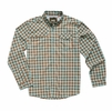 Howler Bros Mens Matagorda Shirt Peninsula Plaid: Tropic Blue/ Tierra