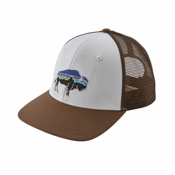 Patagonia Fitz Roy Bison Trucket Hat White w/ Timber Brown